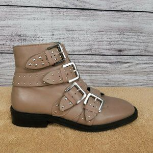 NEW TOPSHOP Amy 2 Ankle Moto Boots Studded Buckles